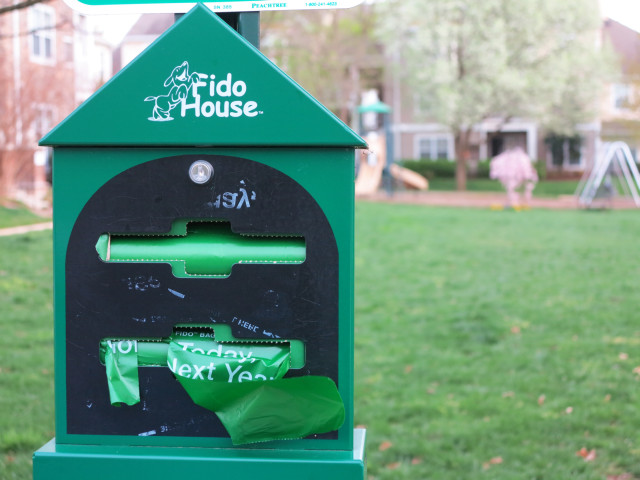 It's a Fido House poop bag dispenser.