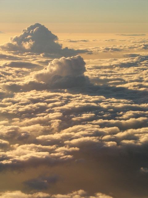 Cloud formation seen from a plane window.